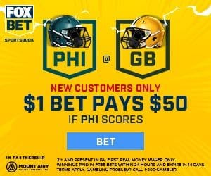 No Brainer At FOX Bet – Bet $1, Win $50 if the Eagles Score vs. Packers